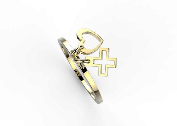 Bague coeur et croix